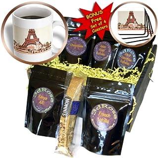3dRose TNMGraphics Vintage Travel - Chrome Eiffel Tower - Coffee Gift Basket (cgb_7371_1)