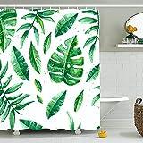 Duschvorhang,Blätter Duschvorhang,Anti-Schimmel Duschvorhang,Grün Stoff Dschungel Duschvorhang,Wasserdicht Duschvorhang,Badezimmervorhang,Waschbar, Bad Vorhang mit 8 Haken 180x180CM