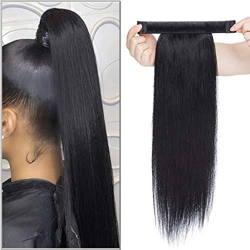 SEGO Haarteil Zopf Pferdeschwanz Echthaar Clip in Ponytail Extension Haarverlängerung Hair Piece glatt Schwarz #1 Schwarz #1 18