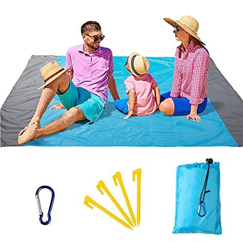 Comius Sharp Alfombras de Playa, 210 x 200 cm Manta de Playa con 4 Clavos Fijos, Impermeable Plegable Manta de Picnic, Esterilla Antiarena Playa para Acampada y Aire Libre