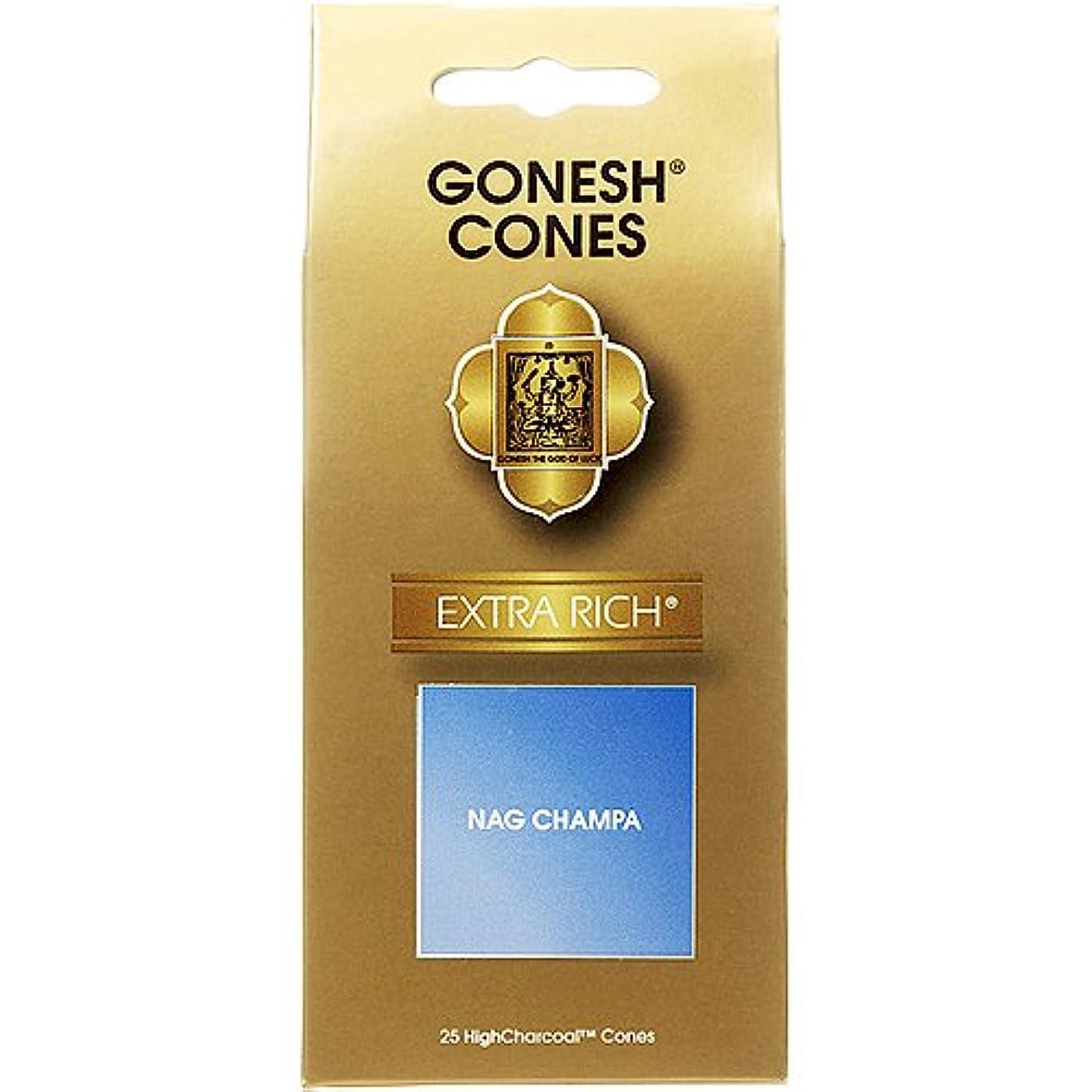 アダルト白内障セミナーガーネッシュ(GONESH) エクストラリッチ インセンス コーン ナグチャンパ 25ヶ入