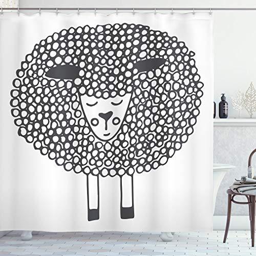 ABAKUHAUS Grau & Weiß Duschvorhang, Doodle Sheep, Set inkl.12 Haken aus Stoff Wasserdicht Bakterie & Schimmel Abweichent, 175 x 200 cm, Anthrazit Grau & Weiß