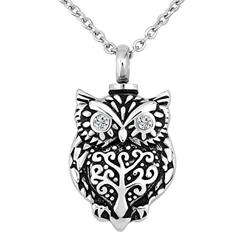 Owl Animal Urn Necklace for Ashes Keepsake Memorial Cremation Pendant