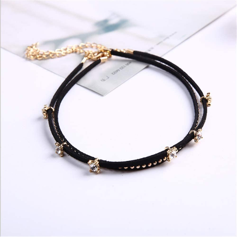 VESOCO Multilayer Punk Style Gothic Women's Collar Necklace Fashion Short Necklace (Gold)