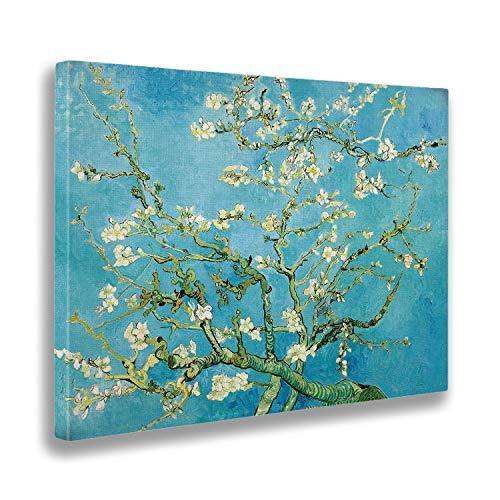 Giallobus - Cuadro - Vincent Van Gogh - Flores de Almendra - Estampado en Lienzo - Listo para Colgar - Varios tamaños 100x140 cm
