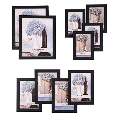 SONGMICS Picture Frames Set of 10 Frames with Glass Front - Two 8x10 Inches in, Four 5x7 Inches in, Four 4x6 Inches in, Collage Photo Frames Wood Grain Black URPF10B