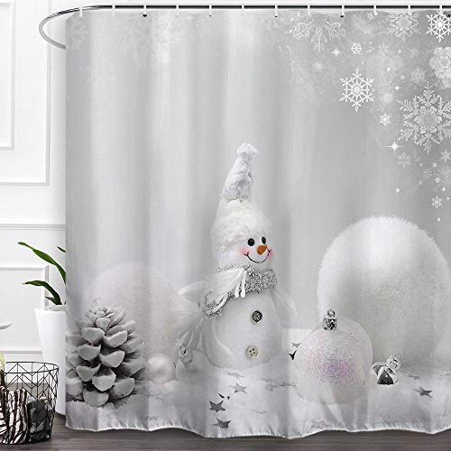 "Baccessor Happy Snowman Christmas Shower Curtains,Fabric Shower Curtains with Hooks,Merry Christmas Xmas Decoration Home Decor, 72"" W x 72"" H (180CM x 180CM) - White Christmas Ball Snowman"
