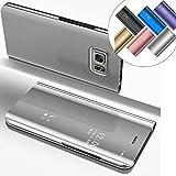 EMAXELERS Funda Samsung Galaxy S6 Edge Plus Espejo Caja de Maquillaje con Marco de Cuero de la PU Flip Protectora de Cuerpo Completo para Samsung Galaxy S6 Edge Plus Mirror PU : Silver