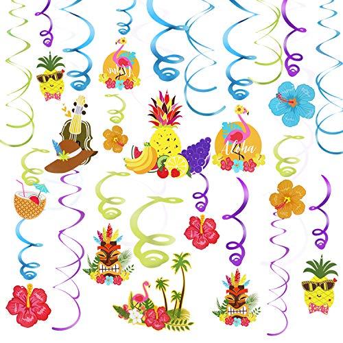 Phogary Hawaii Party Deko, 30-TLG Hängedeko, Partydeko Spiralhänger mit Ananas, Flamingo-Hibiskus-Ornamente, Decken- und Türfoliendekoration für Hawaii-Party, Tiki-Party, Sommerfest, Strand-Party