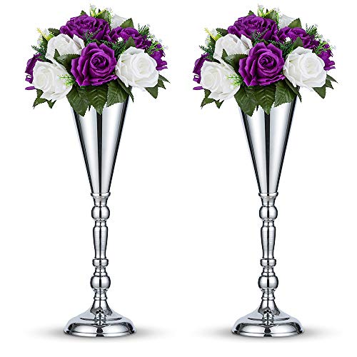 Nuptio 2 Stücke Silber Hochzeit Blume Trompete Vase Tabelle Dekorative Mittelstück Künstliche Blumenarrangements Für Jubiläum Zeremonie Party Geburtstag Dekoration