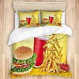 BCVHGD Set Copripiumini Lenzuola,Hamburger Fast Food Bevande Patatine Fri, Set di 3 Pezzi di Biancheria da Letto con 2 federe King Size 220x240cm (86x94 Pollice)