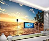 Fotomurales 300x210 cm 6 Strips Playa de coco tarde paisaje marino Papel pintado tejido no tejido Decoración de Pared decorativos Murales moderna Diseno Arte de la pared