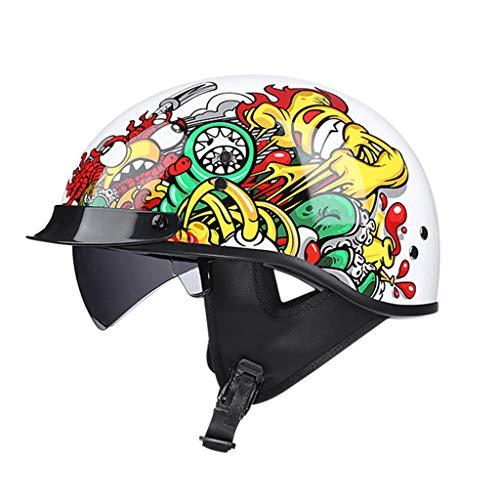 GAOZHE Casco Moto Abierto, Medio Casco De Motocicleta Retro,Dot Homologado Retro Harley Half Moto Cascos Helmet De La Bici del Casco del Viaje del Estilo Alemán Crucero Bicicleta, Visera para