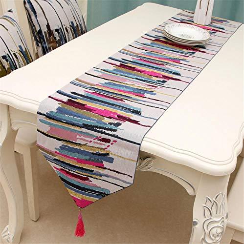 Hinleise Tischläufer, Tischdecke – mit farbigen Streifenmuster, Tischdecke für Tischmatte, Esszimmer, Partymöbel, Dekoration