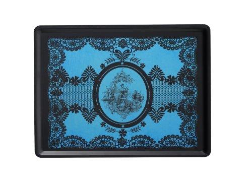 PLATEX 104030215S Plateau Slim Décor Lady Stratifié Bleu 40 x 30 x 0,5 cm