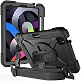 iPad Air 4 case with Pencil Holder | SIBEITU iPad 10.9 Case 2020 | Heavy Duty Shockproof Protective Cover w/ 360 Rotating Stand Hand & Shoulder Strap for iPad Pro 11 2020&2018/iPad Air 4th Gen Black