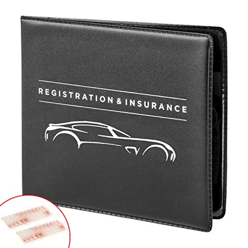 CANOPUS Registration and Insurance Card Holder, Car Document Holder, Wallet for Auto, Trailer, Truck - 2 Pack with EZ Pass Mounting Kit, Ez Pass Strips