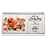 Stand Up Desk Calendar 2020-2021, Cute Dog and Floral Bloom Theme Standing Desk Calendar, Small Size Monthly Home,Business,Student,Office,Calendars, 365 Days Planner,Compact Organizer and Decor
