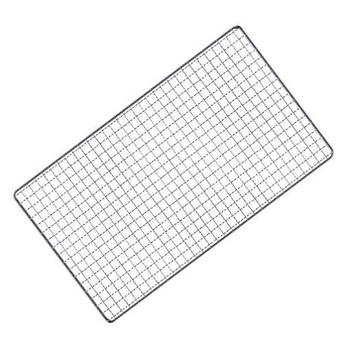 NUOLUX 焼き網 バーベキュー網 304ステンレス鋼 BBQ 焼き網 コンロ 替え網 角型 くっつかない 耐久 耐熱 屋外焼き 飲食店 業務 調理用(サイズ:40x20cm)