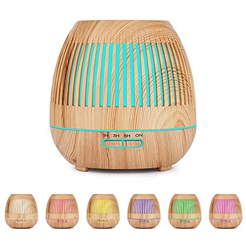 YuQSpace Diffusore di Oli Essenziali, 400ml Umidificatore Ambiente Casa con Colori 7 Luce LED 4 Tipi Impostazione Timer Diffusore di Aromi Ultrasuoni per Yoga, Ufficio, Camera da Letto, Soggiorno
