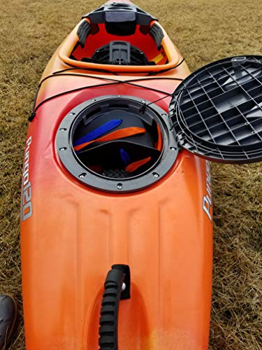 """THEKAYAKCART KC-7 Ultra Portable Kayak & Canoe Cart 4 TheKayakCart has an extremely flexible cradle adapts to various hull shapes. Comes with dual strap attachments, buckles and hook.. Wheels are removable via quick release pins. 7"""" co-polymer wheels w rubber tread will cover just about any terrain. """" Weight capacity is 165 lbs. Weight is 2.85 Lbs. Dim.13.25"""" x 10"""" x 10 With TheKayakCart getting your kayak or canoe to the water by yourself has never been easier. Just strap, roll, and launch! Durably designed and engineered for SIT IN RECREATIONAL kayaks, canoes, and rowing shells, TheKayakCart can be quickly, easily, and securely attached in minutes to any shaped bow or stern. TheKayakCart has three optional wheel types."""