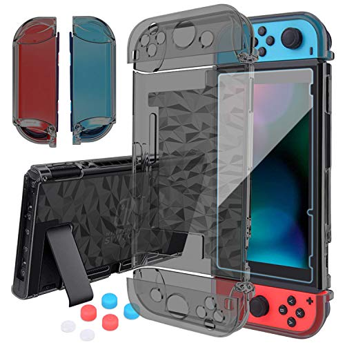 HEYSTOP Compatible with Nintendo Switch Case Dockable, Clear Protective Case Cover for Nintendo Switch and Joy-Con Controller with a Switch Tempered Glass Screen Protector and Thumb Stick Caps(Black)