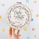 MONAMÍ Portafedi personalizzato in tela stampata a colori e spago di iuta per annodare gli anelli due misure 20 cm e 15 cm di diametro Portafedi nuziali 15 cm