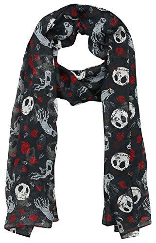 The Nightmare Before Christmas Pesadilla Antes De Navidad Jack Skellington - Ghost & Roses Mujer Pañuelo Multicolor, 100% poliéster,