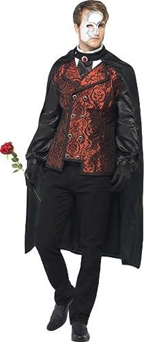 Smiffys Halloween Fancy Party Herren Dark Opera Masquerade Kostüm Komplettes Outfit