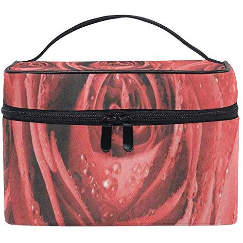Trousse De Maquillage Roses Rouges Filles Sac Cosmétique Organisateur De Toilette pour Femmes