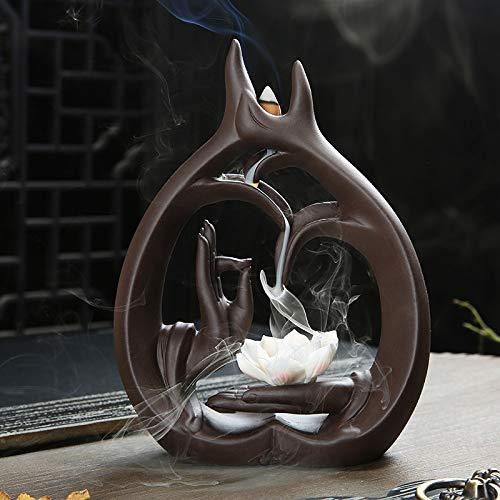 Fashion_Man Rückfluss Räuchergefäß Wasserfall Keramik Räucherstäbchenhalter Zuhause Räucherstäbchen Halter für Wohnzimmer Dekorationen Aromatherapie Diffusoren mit 50 Stück Räucherkegel, Lotus