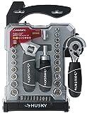 Husky H4PCSTS Conjunto de herramientas combinadas de llave inglesa y llave ajustable con trinquete extensible (46 piezas, SAE y tomas de corriente métricas incluidas)