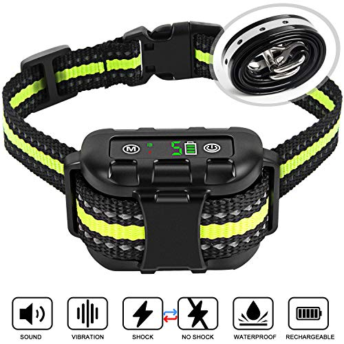 Bark Collar Newest Upgrade Version No Bark Collar Rechargeable Anti bark Collar with Beep Vibration and No Harm Shock Smart Detection Module Bark Collar for Small Medium Large Dog