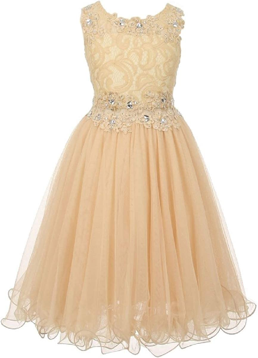 Department store Sleeveless Rhinestones Lace Pageant Flower Popularity Gir Easter Graduation