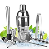 Stainless Steel Cocktail Shaker Bar Set with 18 Ounce Martini Mixer, Measuring Jigger, Mixing Spoon, Liquor Pourers, Muddler, Strainer and Ice Tongs Professional Bar Tools for Bartenders