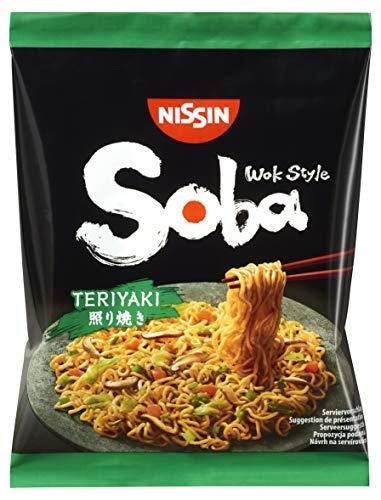Nissin Bag Noodles Soba – Teriyaki, 9er Pack, Wok Style Instant-Nudeln japanischer Art, mit Teriyaki-Sauce, schnelle Zubereitung, asiatisches Essen (9 x 110 g)