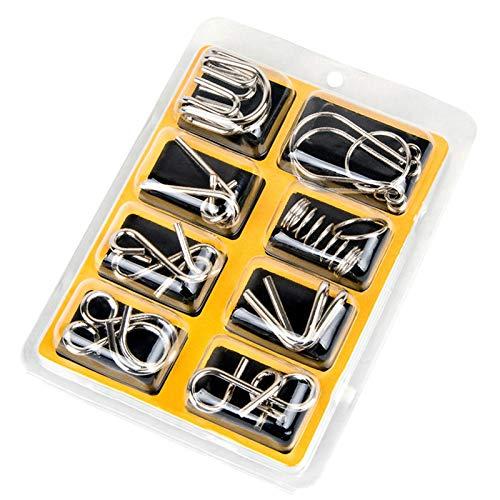 Deanyi 8pcs del Rompecabezas del Juguete/Set Materiales Metal Montessori Puzzle Alambre IQ Mente Cerebro Puzzle Rompecabezas para Niños Adultos Anti-estrés relevista Juguetes Regalos para los niñ