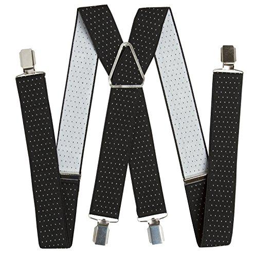 BRUBAKER bretelles à pois noir blanc 4 clips en métal de 34 mm de large, extra stable et solide