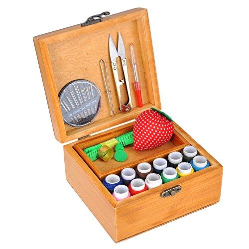 ylovein Kit de costura profesional Set con caja de madera para el hogar de viaje Vintage tipo costura Accesorios Soporte