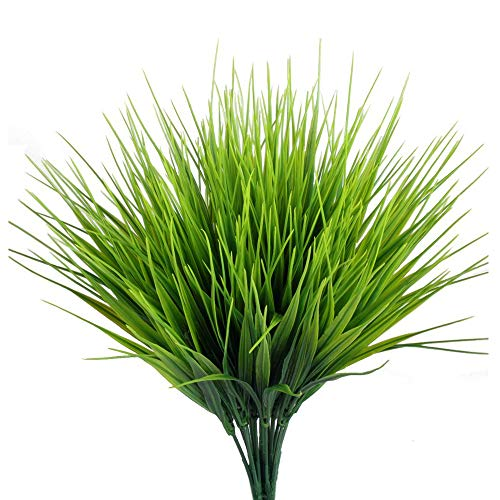 FUJIE 4pcs Artificial Plants Faux Plastic Shrubs Fake Wheat Grass Simulation Greenery Bushes for Indoor and Outdoors Home Table Garden Office Verandah Wedding Décor