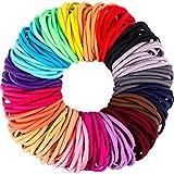 200 Pieces No-metal Hair Elastics Hair Ties Ponytail Holders Hair Bands (4 mm, Multicolor) (Multicolor)