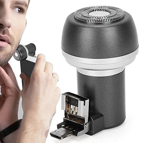 Afeitadora eléctrica recargable Afeitadora eléctrica Imán Adsorción Teléfono móvil Afeitadora de barba eléctrica Recortadora Portátil para hombres Herramienta de aseo de barba redonda(04)