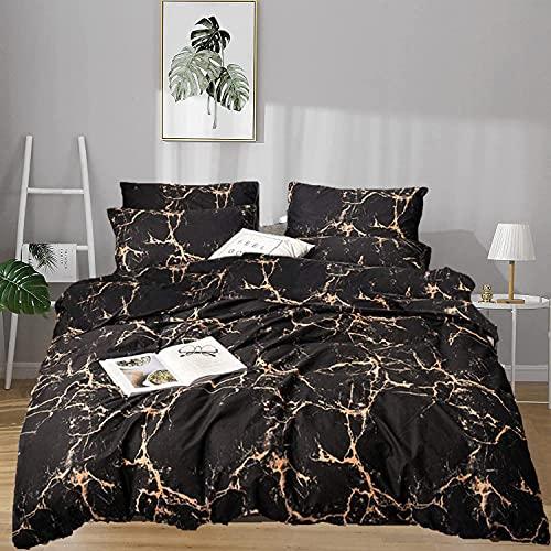 karever Black and Tan Marble Comforter Set Queen Orange Lines Reversible Durable Beddig Quilt Set Abstract Black Marble Tan Texture Print Kids Teens Adult Lightweight