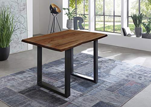 SAM Bartisch Quebec, Stehtisch mit echter Baumkante, 120 x 80 cm, Küchentresen nussbaumfarben, U-Gestell aus Metall schwarz