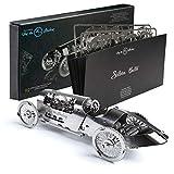 Timeformachine maqueta mecánica 3D Metal Coche Retro- Silver Bullet- DIY, Manualidades, maqueta Metal 3D de Coche clásico de Carreras con Movimiento a Cuerda