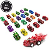 FAVONIR Pull Back Friction Cars, 24 MiniAssorted Race Car Vehicle Playset for Toddlers & Kids Party Favor Giveaway Ideal Birthday Party, Bulk School Reward Prizes, Décor, Carnival and Events