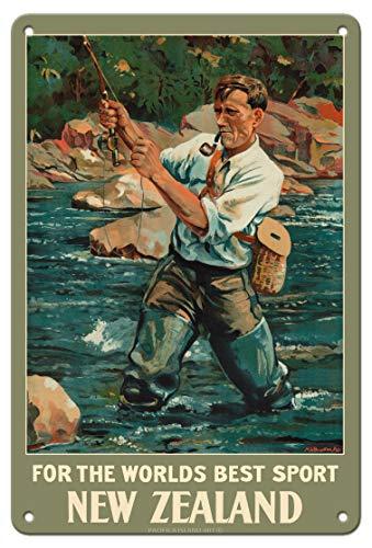 Pacifica Island Art Nueva Zelanda - por el Mejor Deporte del Mundo - Pescador de Trucha Pesca con Mosca - Póster Viajes de Maurice Alec Poulton c.1936 - Letrero de Metal 20x30cm