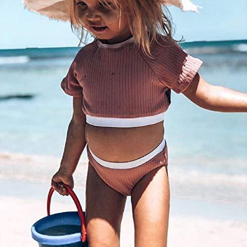 Janly Clearance Sale Conjunto de pantalones para bebés de 0 a 5 años, camiseta corta de retazos, 2 piezas, conjunto de trajes para niños pequeños de 4 a 5 años (rosa)