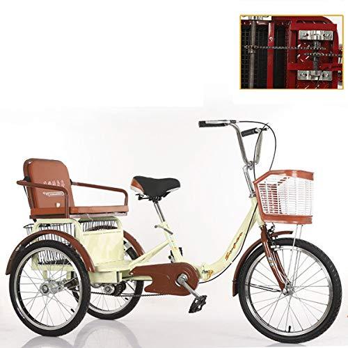 ZFF Triciclo para Adultos 20 Pulgadas con Cesta Y Asiento Trasero Tres Ruedas Bicicleta Cadena Doble Cruiser Trike para Hombres Mujeres Recreación Compras Ejercicio (Color : Beige)