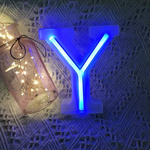 QiaoFei Letras de Luces de marquesina, letreros de neón, decoración de Pared Azul/decoración de Mesa para el hogar, Bar, Navidad, Fiesta de cumpleaños, día de San Valentín, Letras Azules